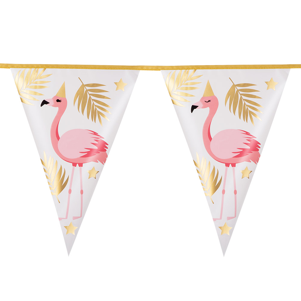 4m Vlaggenlijn Folie Flamingo