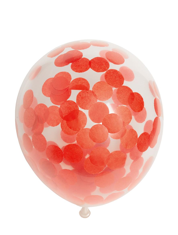 """6st Ballonnen met Confetti Rood 12"""""""