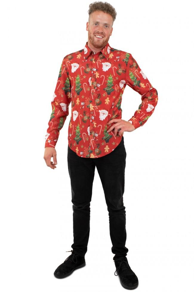Blouse Kerst Rood Heren