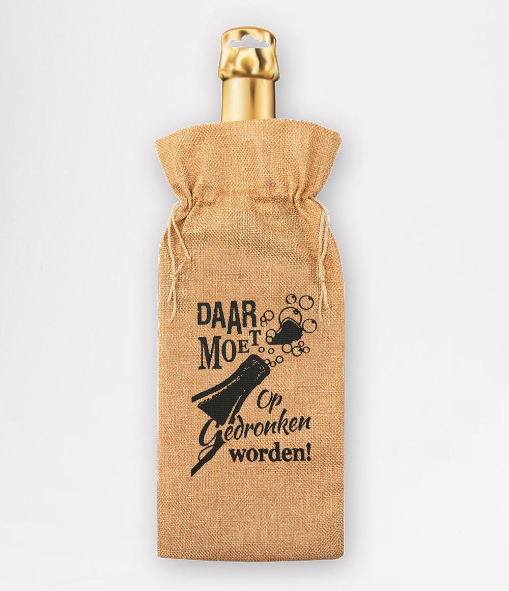 Bottle Gift Bag Daar Moet op Gedronken Worden