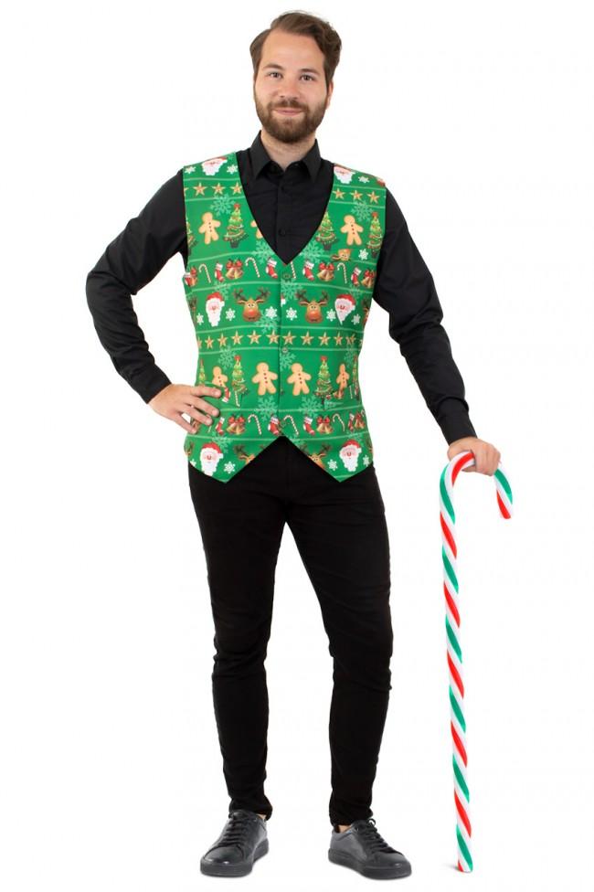 Gilet Kerst Groen Heren