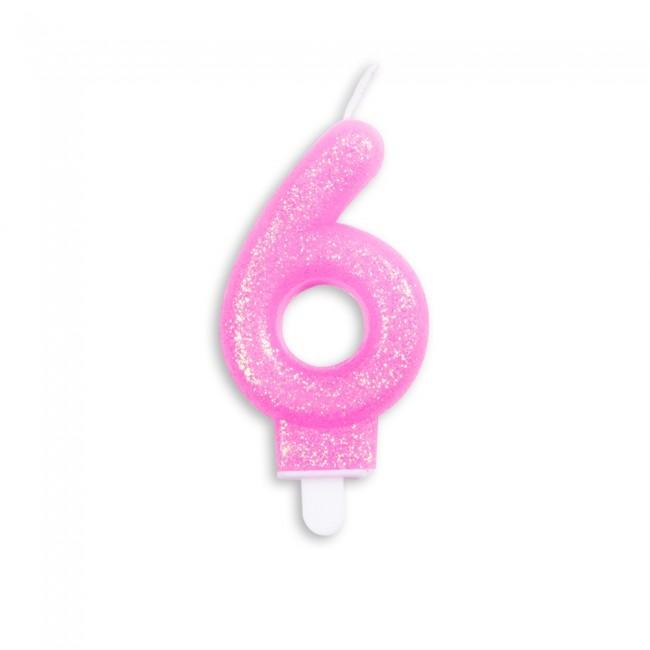 Kaars Glitter Roze Nr.6 7cm