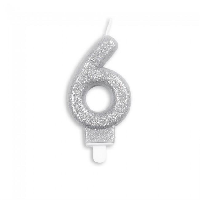 Kaars Glitter Zilver Nr.6 7cm