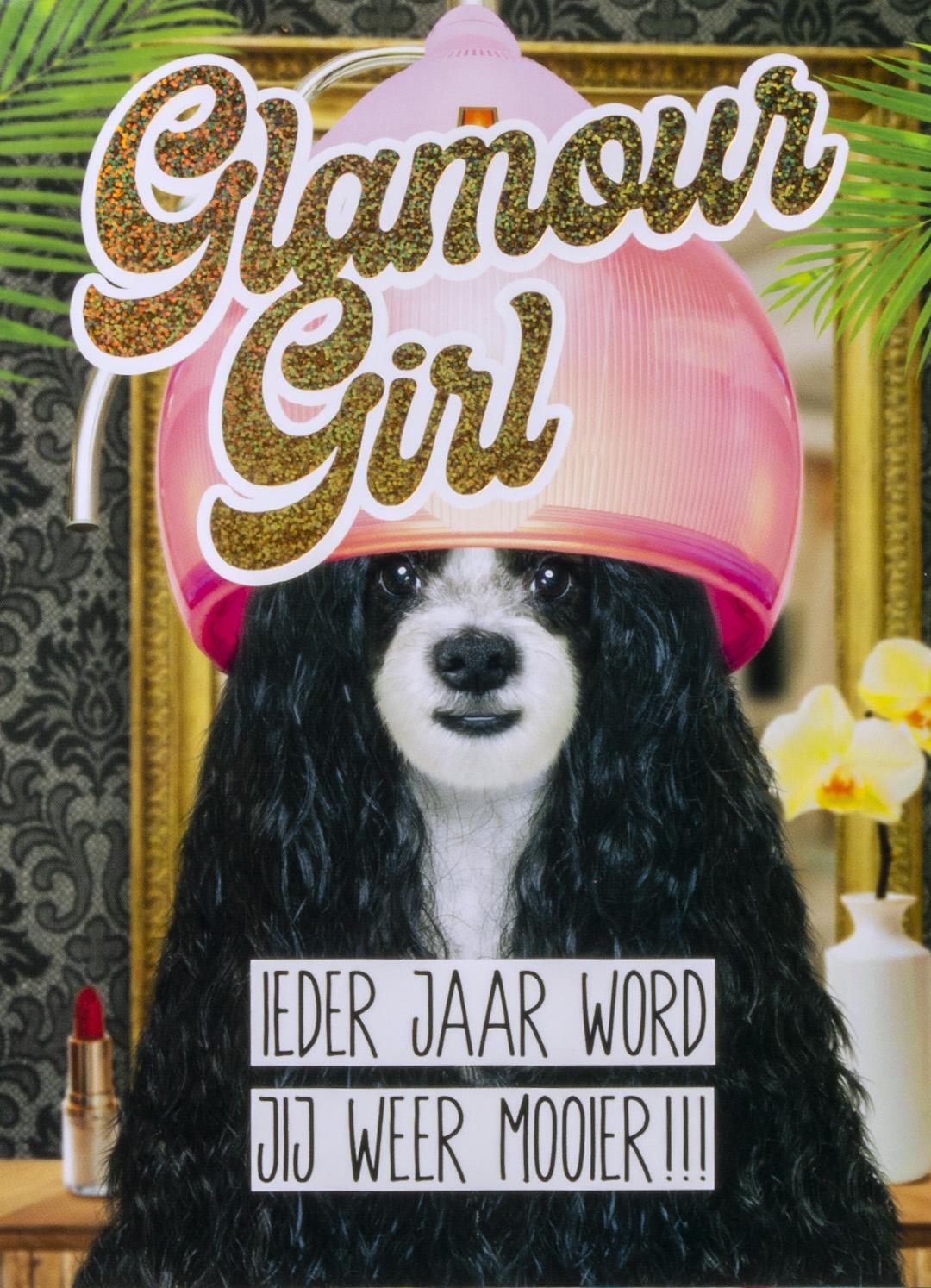 OMG Wenskaart Hond Glamour Girl