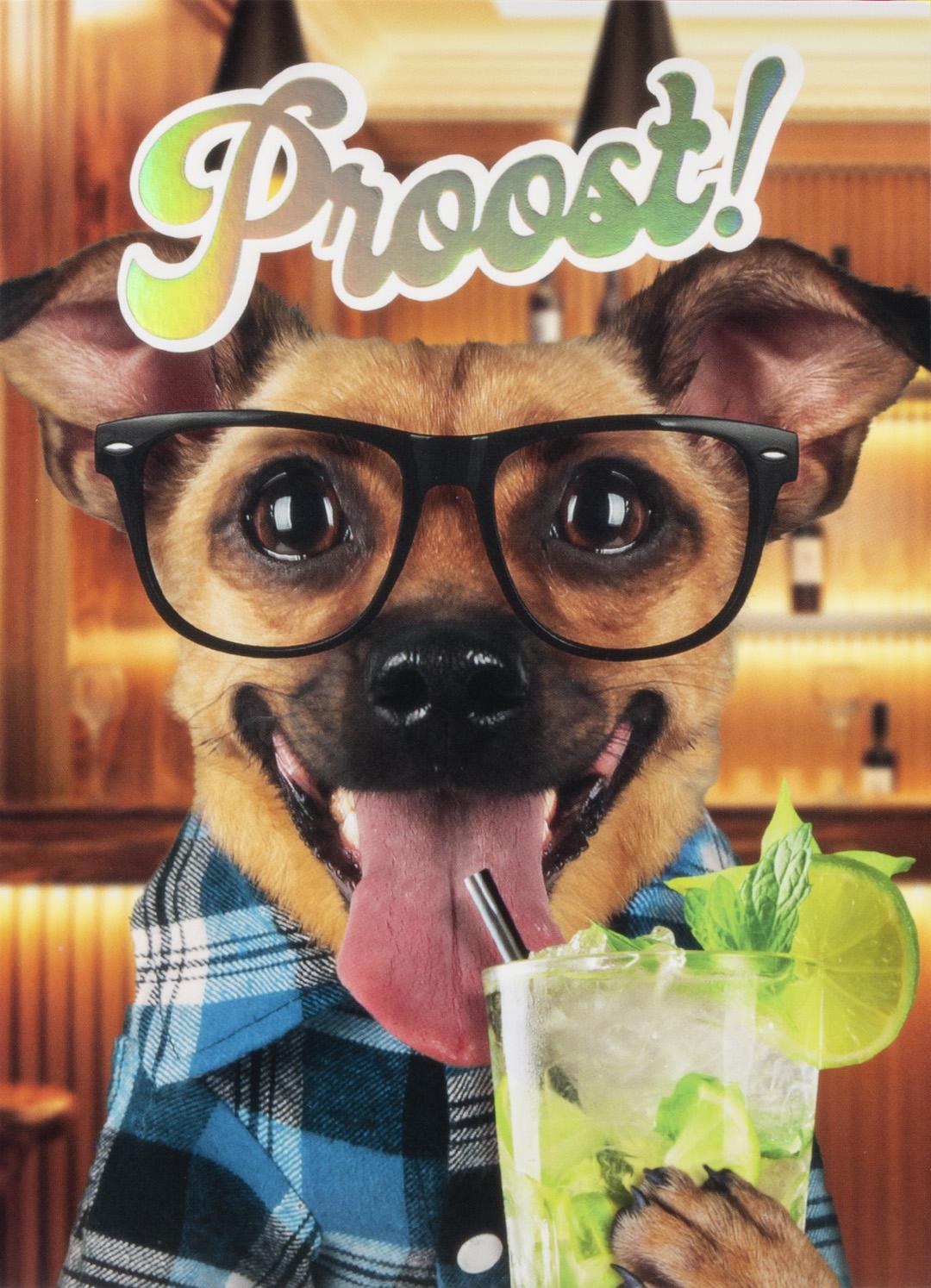 OMG Wenskaart Hond met Drankje