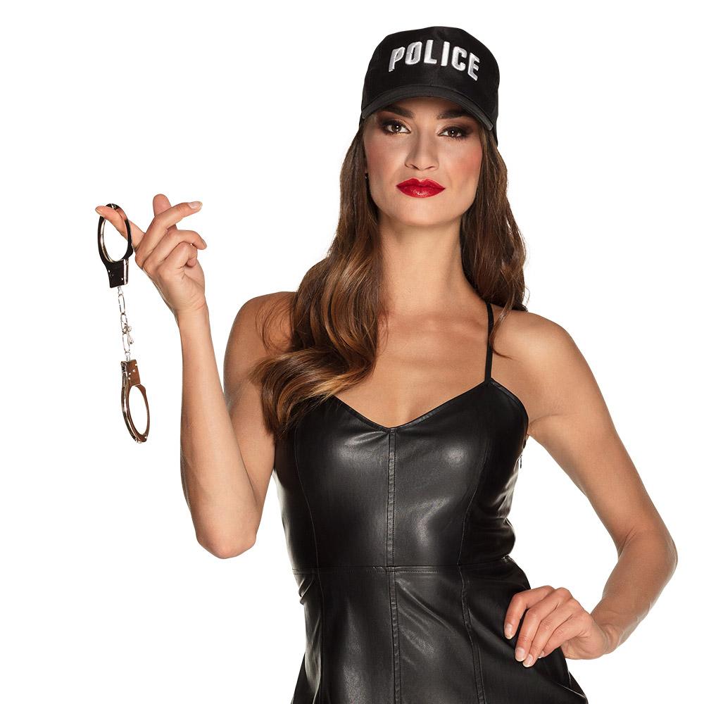 """Pet """"POLICE"""" Zwart Verstelbaar"""