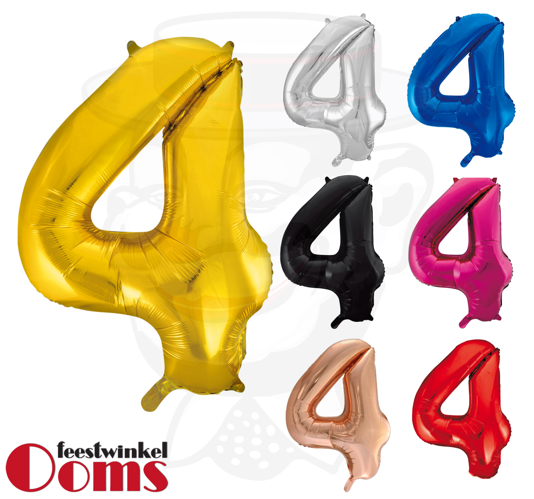 "Folieballon Cijfer ""4"" 86cm"