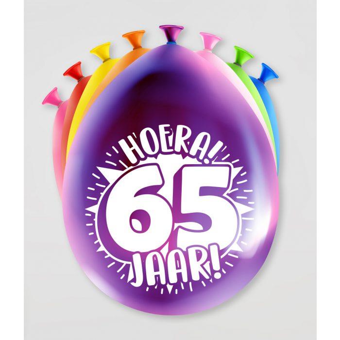 """8st Ballonnen Hoera! 65 Jaar! 12"""""""