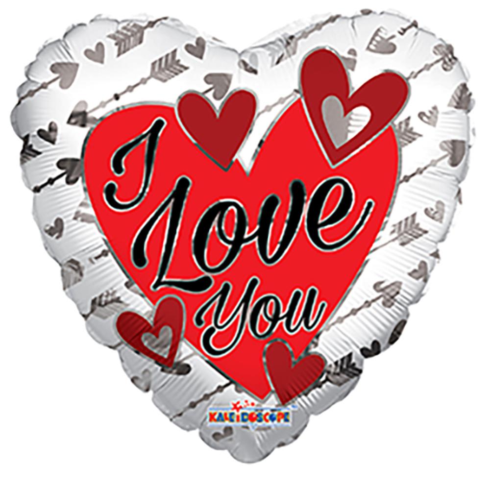 Folieballon Hart I Love You Zilveren Pijlen 46cm