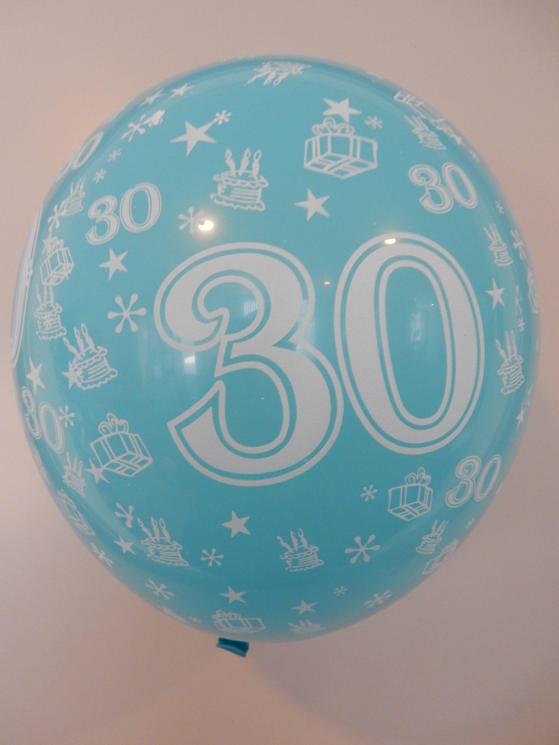 "5st Helium Ballonnen Assorti 30 Jaar 12"""