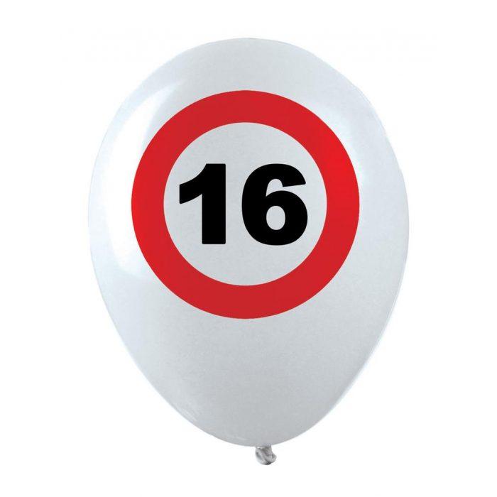 12st Helium Ballonnen Verkeersbord 16 jaar 12''