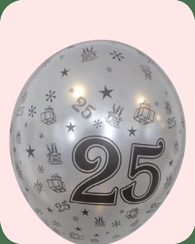 "5st Helium Ballonnen Zilver 25 Jaar Getrouwd 14"""