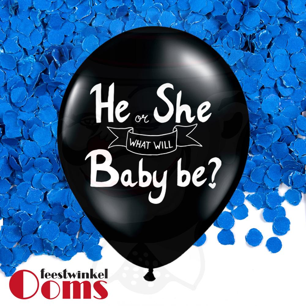 "Ballon He or She met Blauwe Confetti 16"""