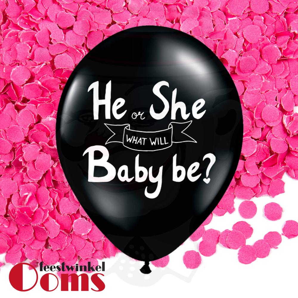 "Ballon He or She met Roze Confetti 12"""