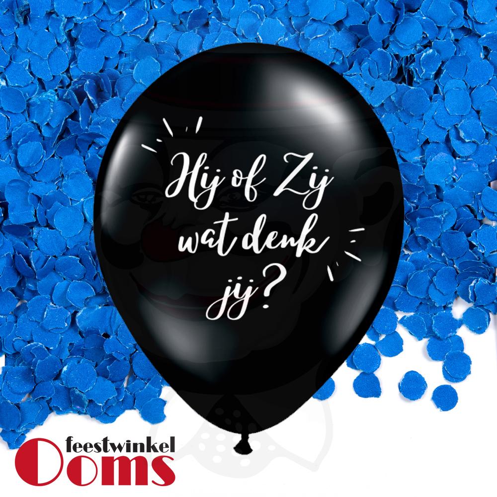 """Ballon Hij of Zij met Blauwe Confetti 16"""""""