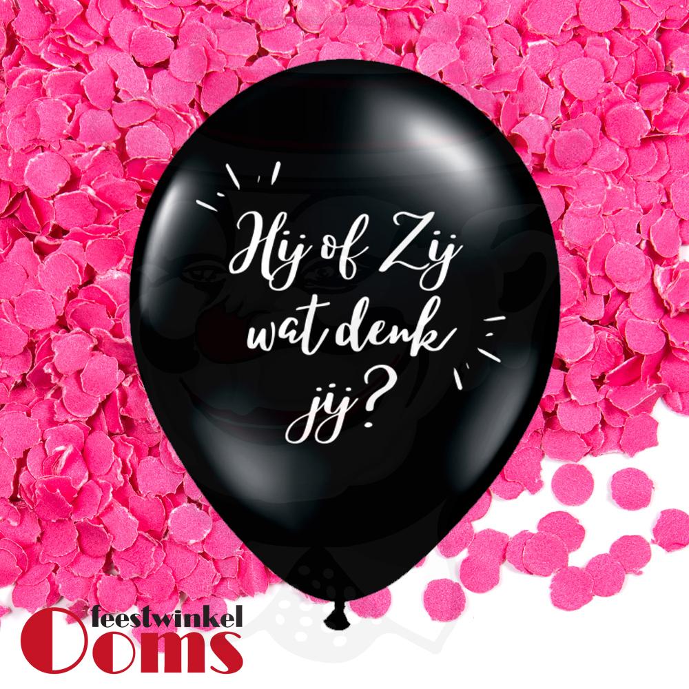 "Ballon Hij of Zij met Roze Confetti 16"""