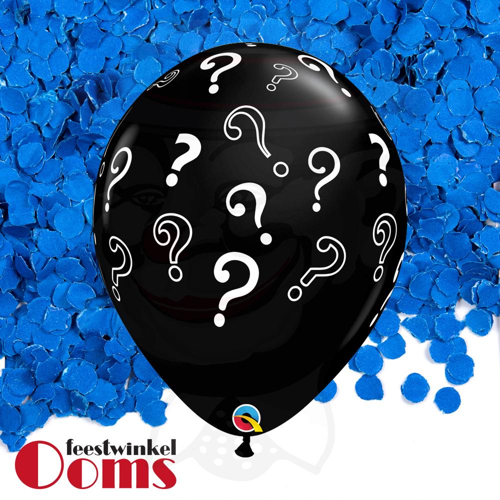 "Ballon Vraagtekens met Blauwe Confetti 16"""