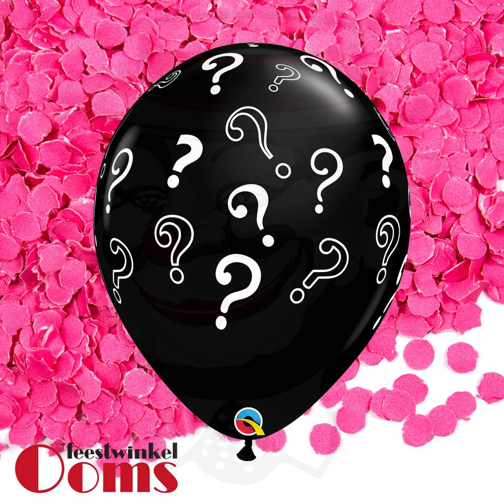 """Ballon Vraagtekens met Roze Confetti 16"""""""