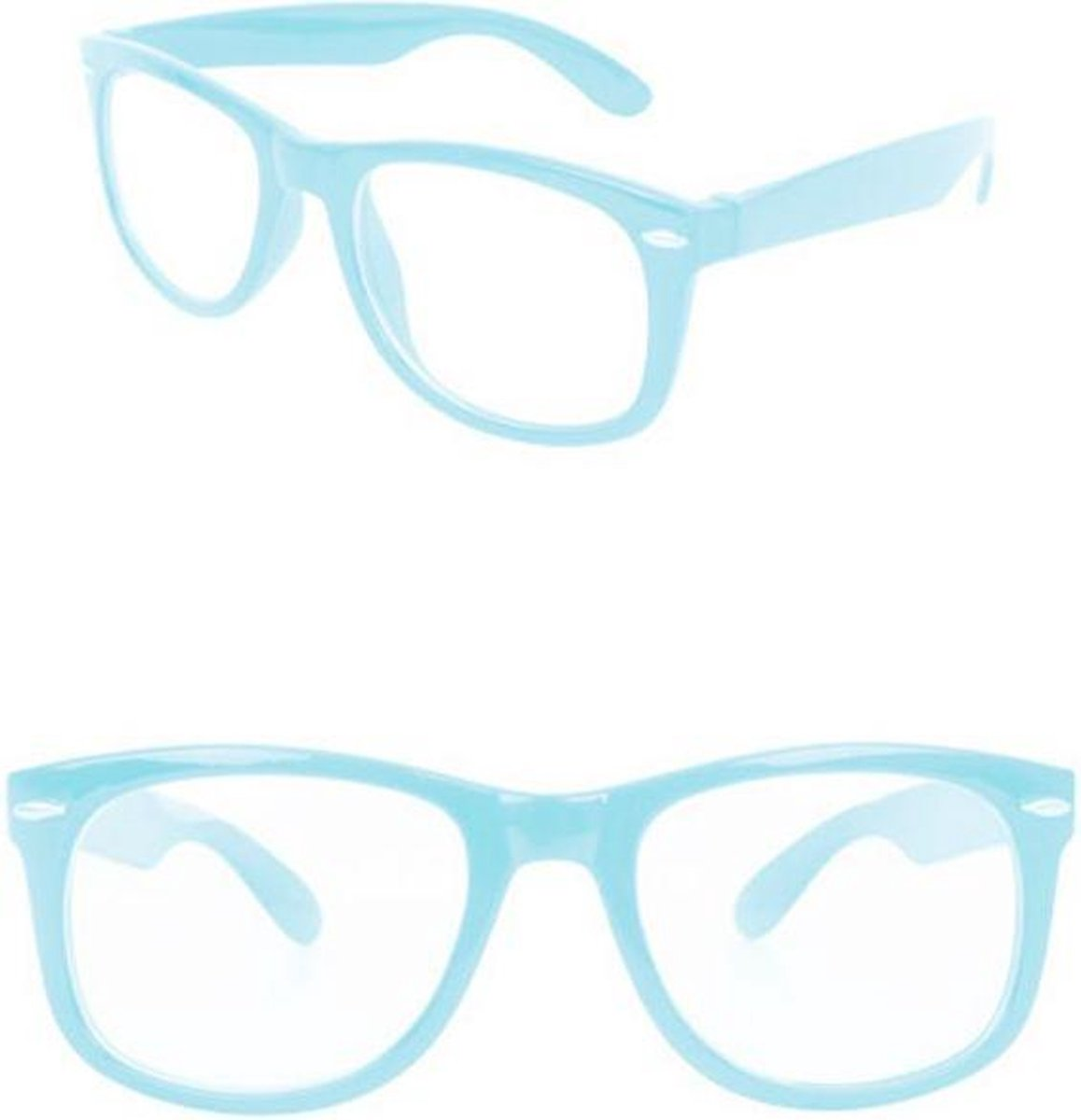 Bril Blues Brothers Turquoise Blank Glas