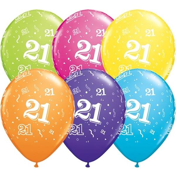 """5st Helium Ballonnen 21 jaar 11"""""""