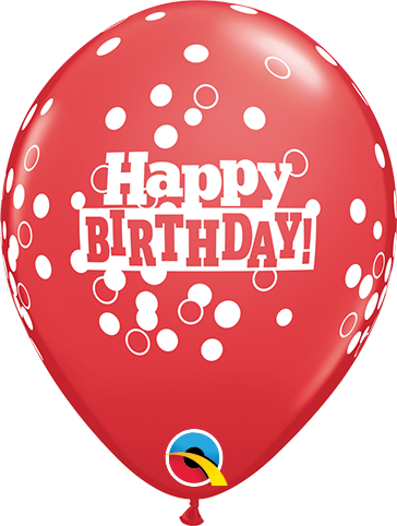 "5st Helium Ballonnen H.Birthday Confetti 11"""