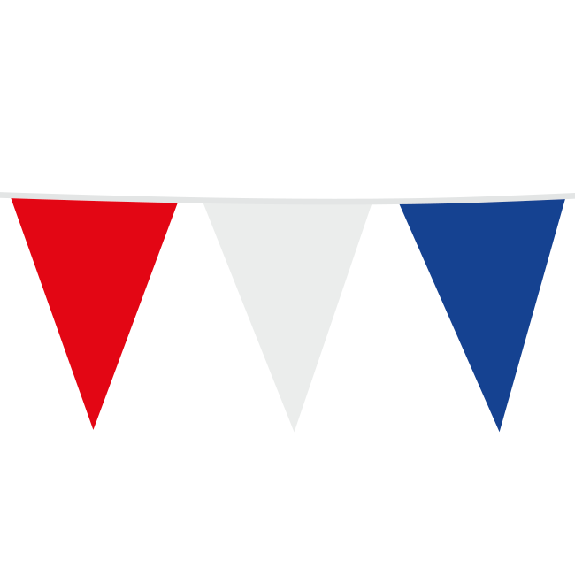 10m Maxi Vlaggenlijn Uni Rood/Wit/Blauw