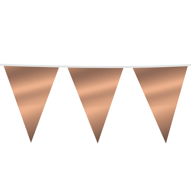 10m Maxi Vlaggenlijn Uni Roségoud Metallic