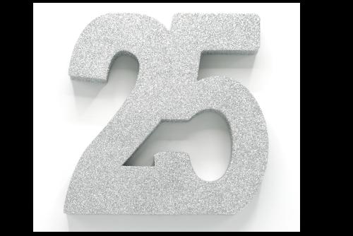 """Tafeldecoratie """"25"""" Zilver Glitter 20cm"""