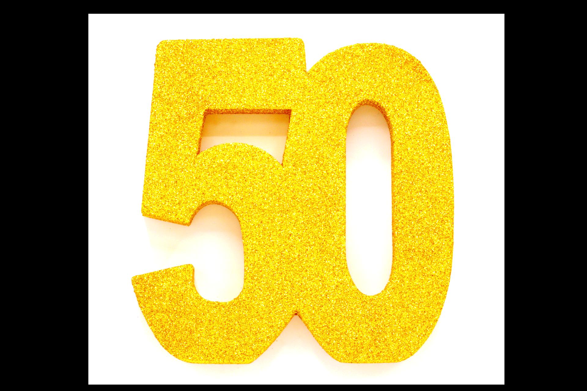 "Tafeldecoratie ""50"" Goud Glitter 20cm"