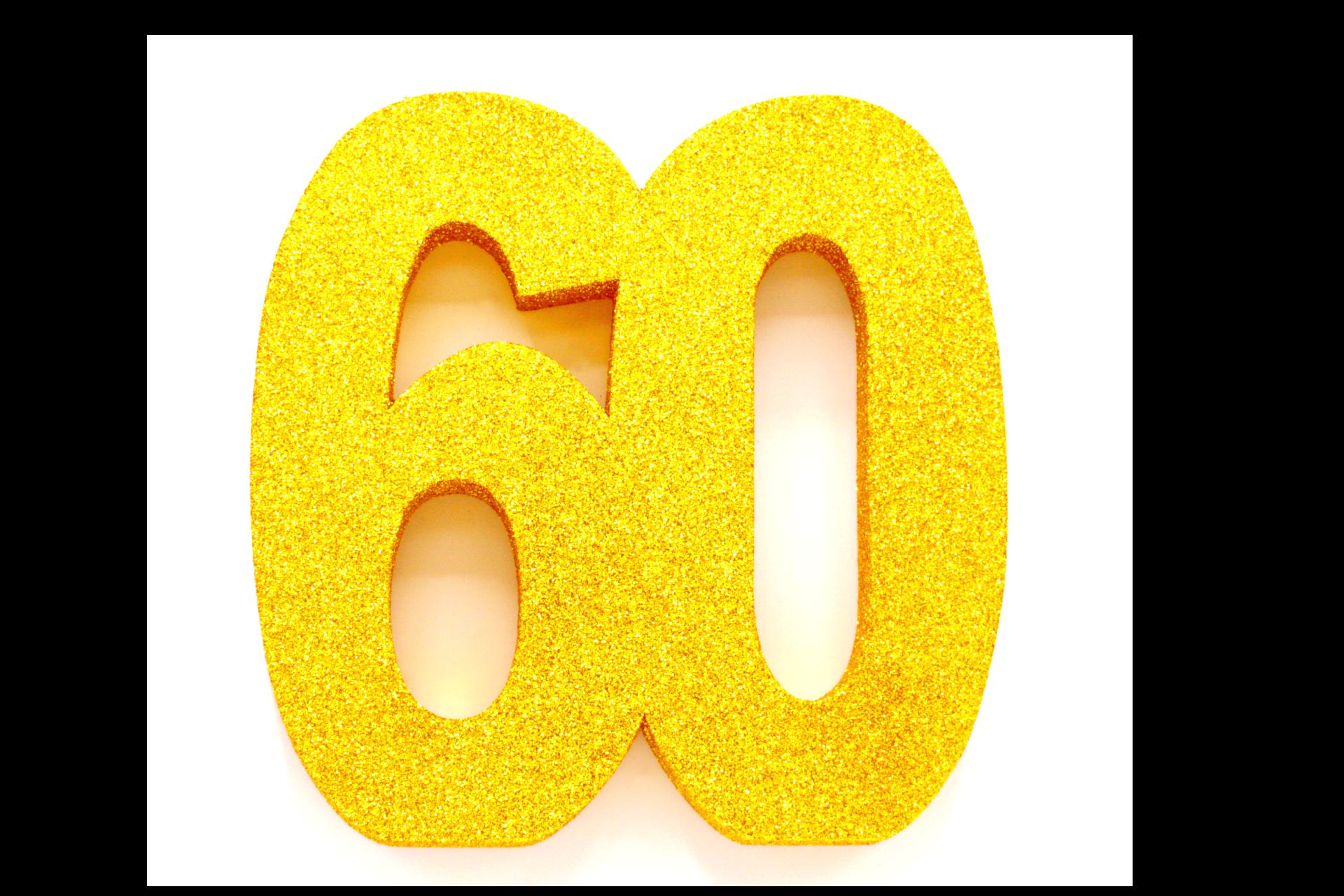 "Tafeldecoratie ""60"" Goud Glitter 20cm"