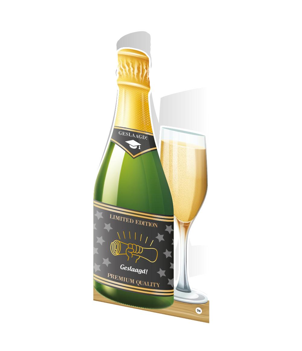 Wenskaart Champagne Geslaagd School