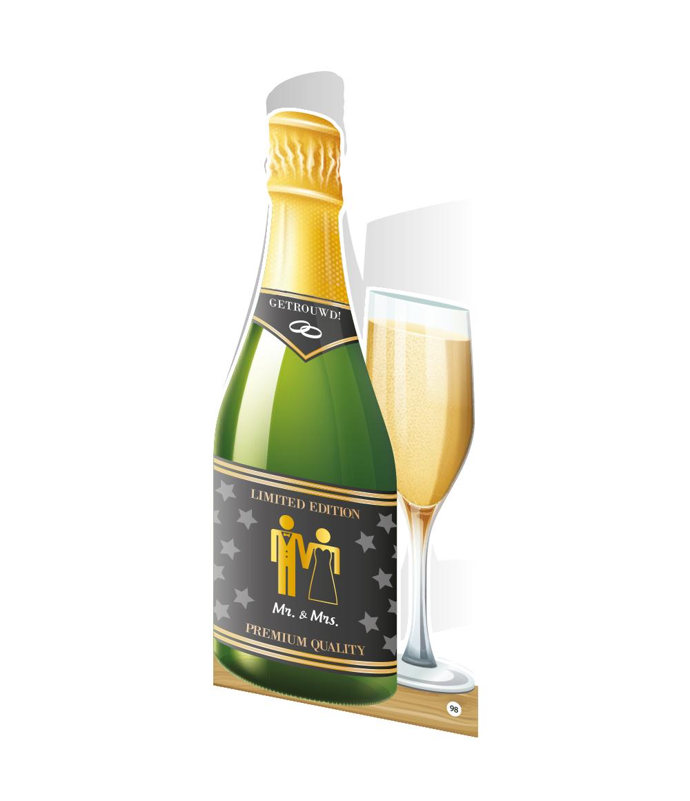 Wenskaart Champagne Mr&Mrs