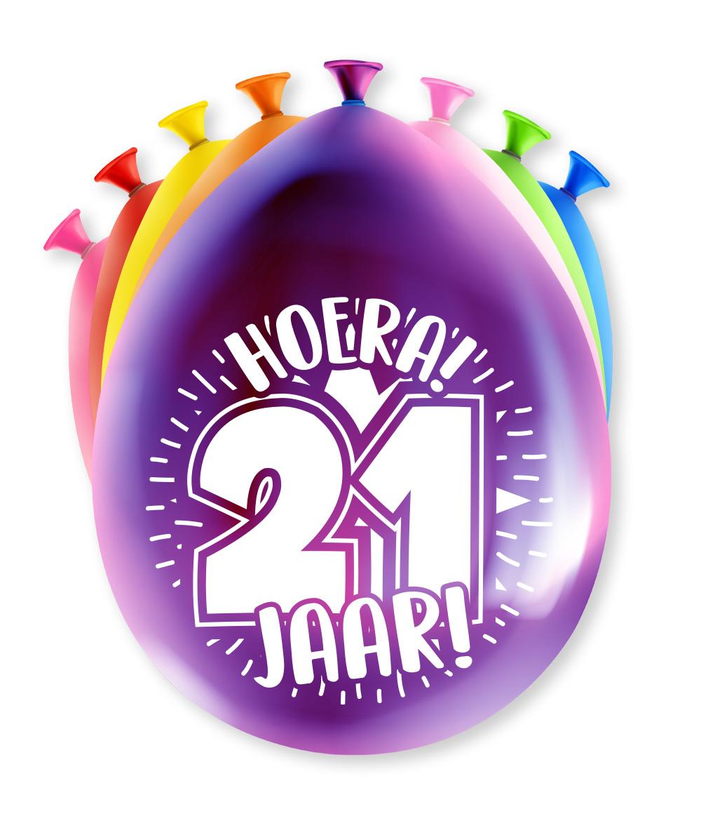 """8st Ballonnen Hoera! 21 Jaar! 12"""""""