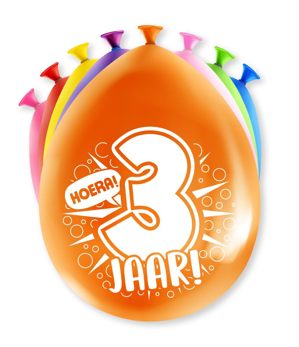 """8st Ballonnen Hoera! 3 Jaar! 12"""""""