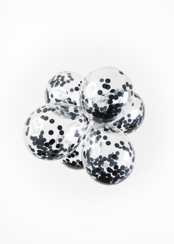 """6st Ballonnen met Confetti Zwart 12"""""""