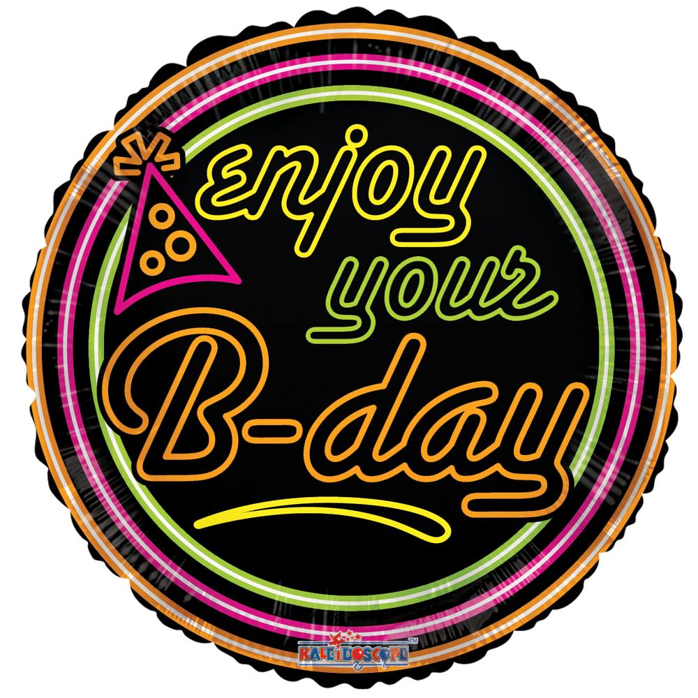 Folieballon Enjoy your B-day Neon 46cm