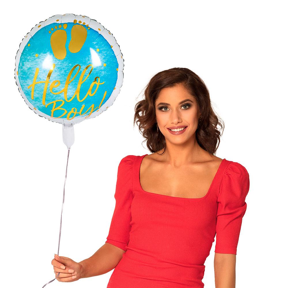 Folieballon Hello Boy Blauw 45cm