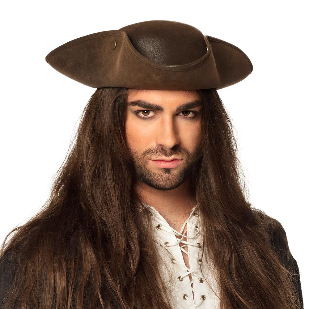 Hoed Piraat Charles Bruin Leatherlook