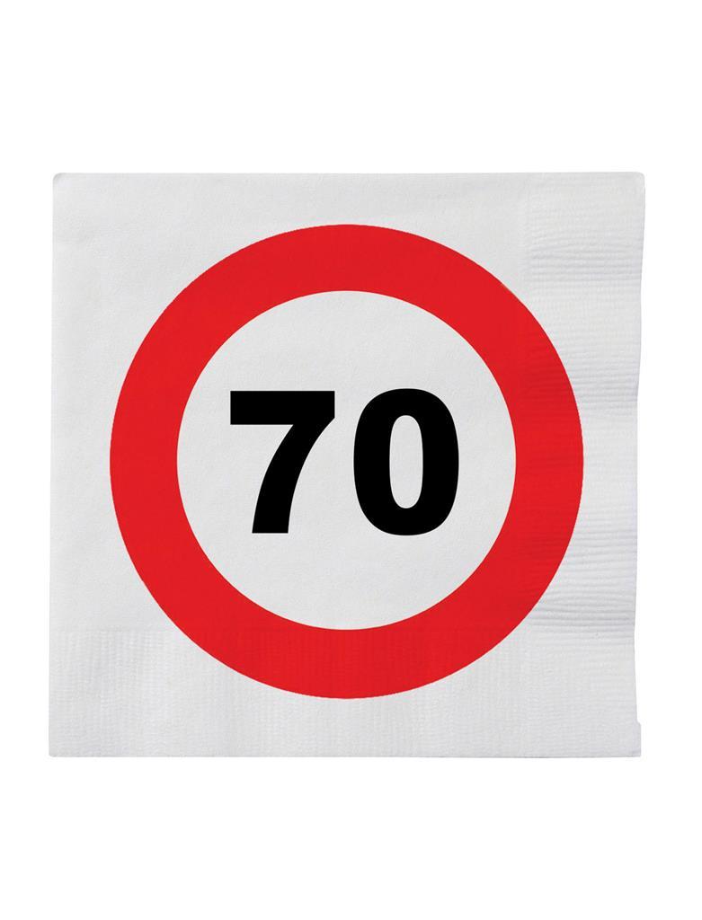 20st Servetten Verkeersbord 70 jaar 33x33cm