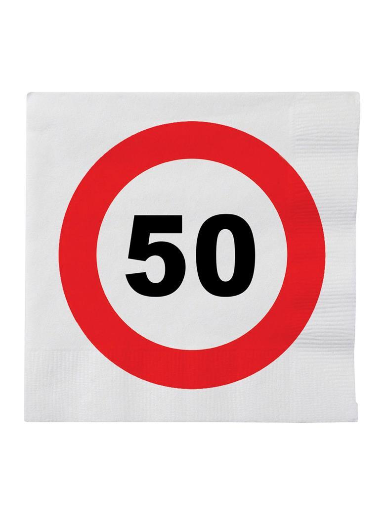 20st Servetten Verkeersbord 50 jaar 33x33cm