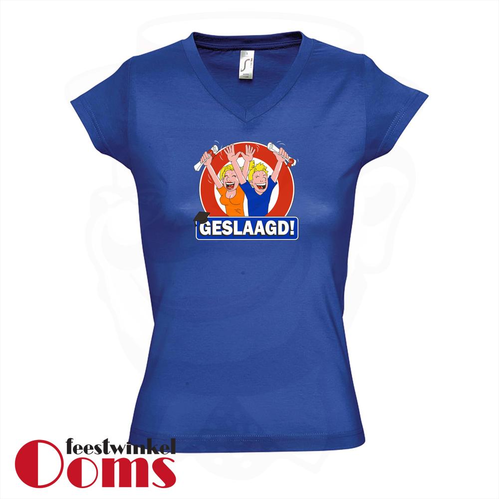 """T-Shirt """"Geslaagd"""" Blauw Dames"""