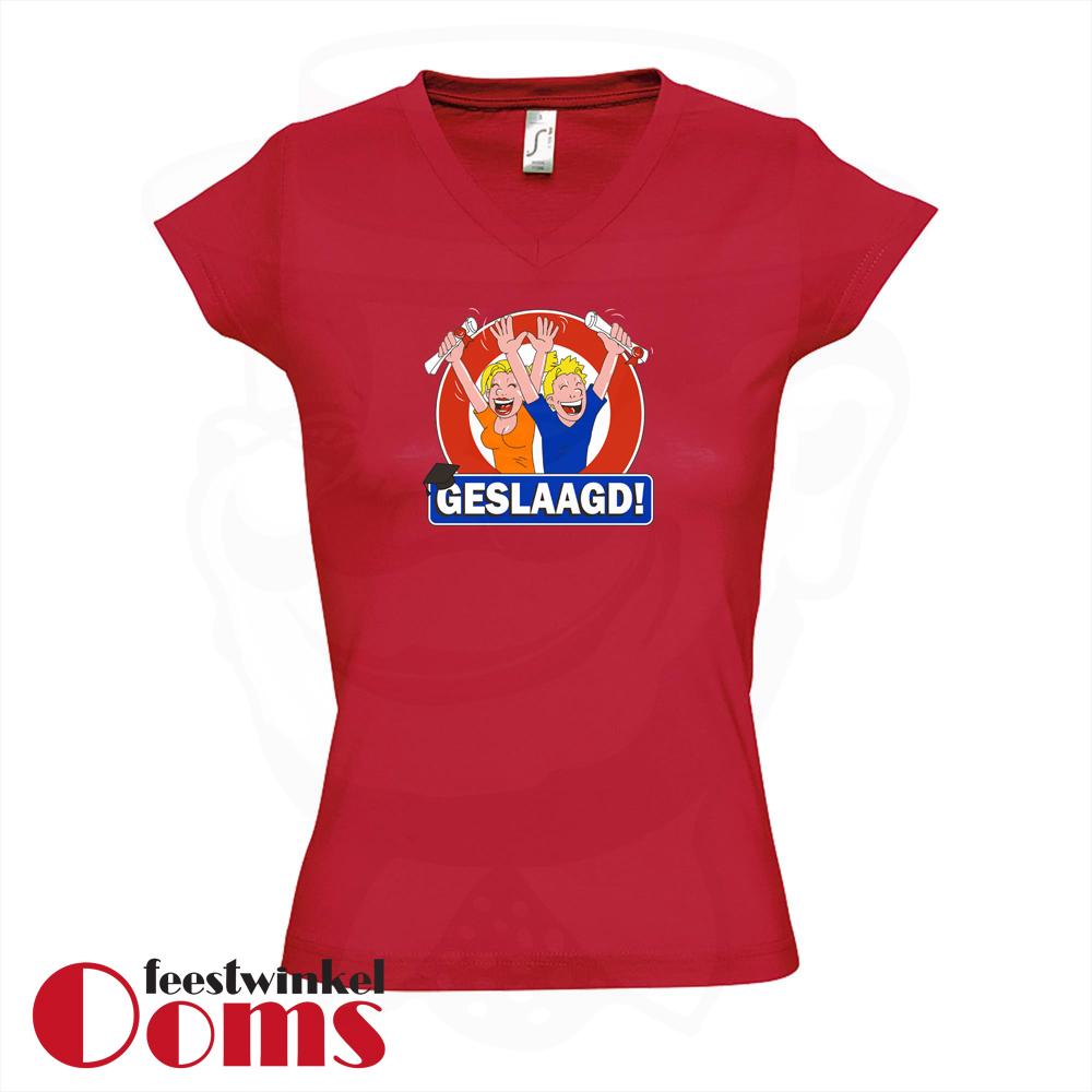 """T-Shirt """"Geslaagd"""" Rood Dames"""