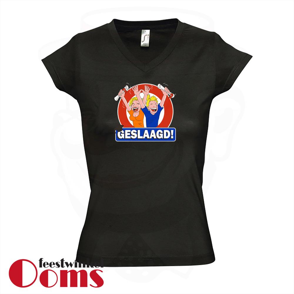 """T-Shirt """"Geslaagd"""" Zwart Dames"""