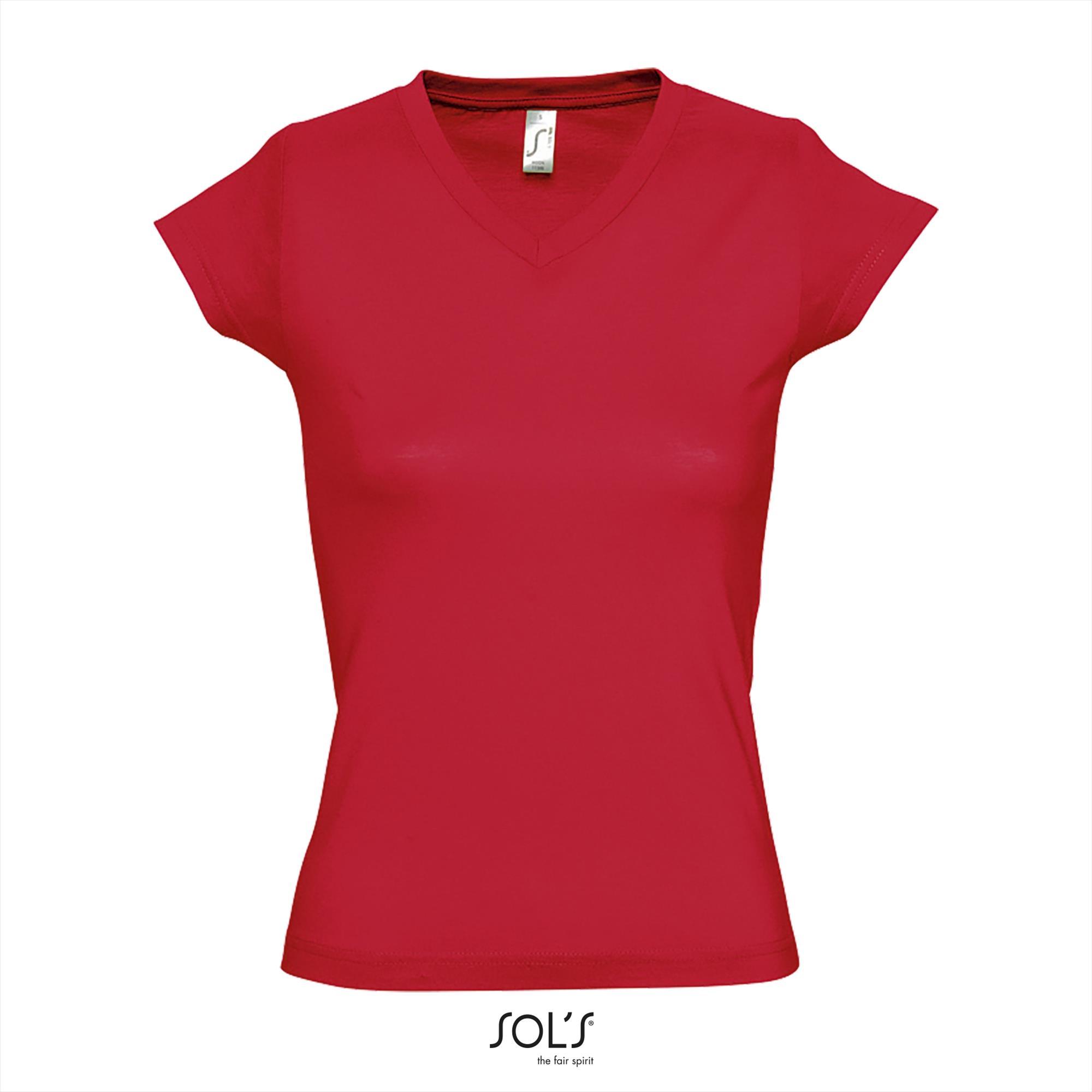 T-Shirt Moon Uni Rood Dames