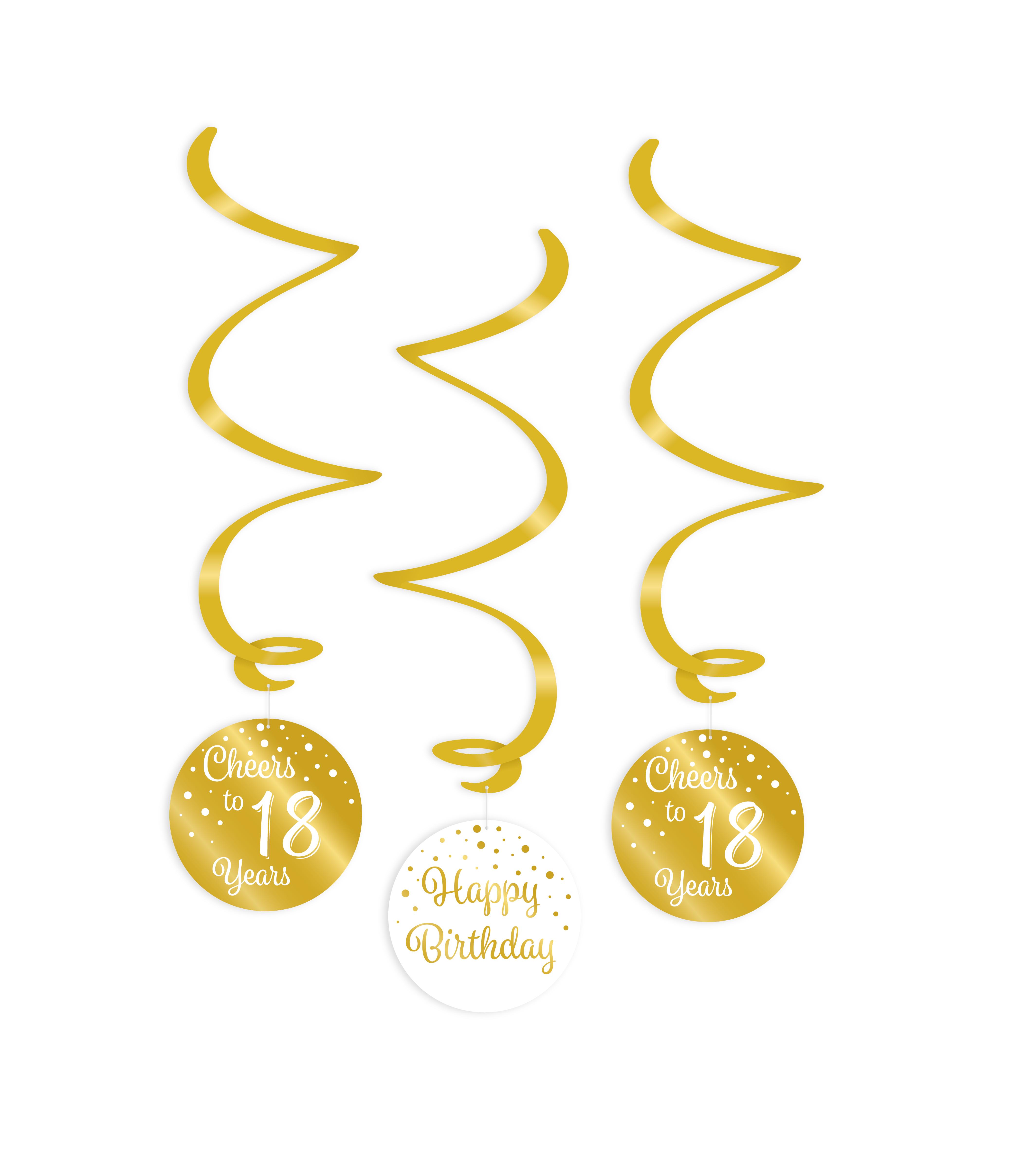 3st Hangdecoratie Goud/Wit Cheers to 18 Years