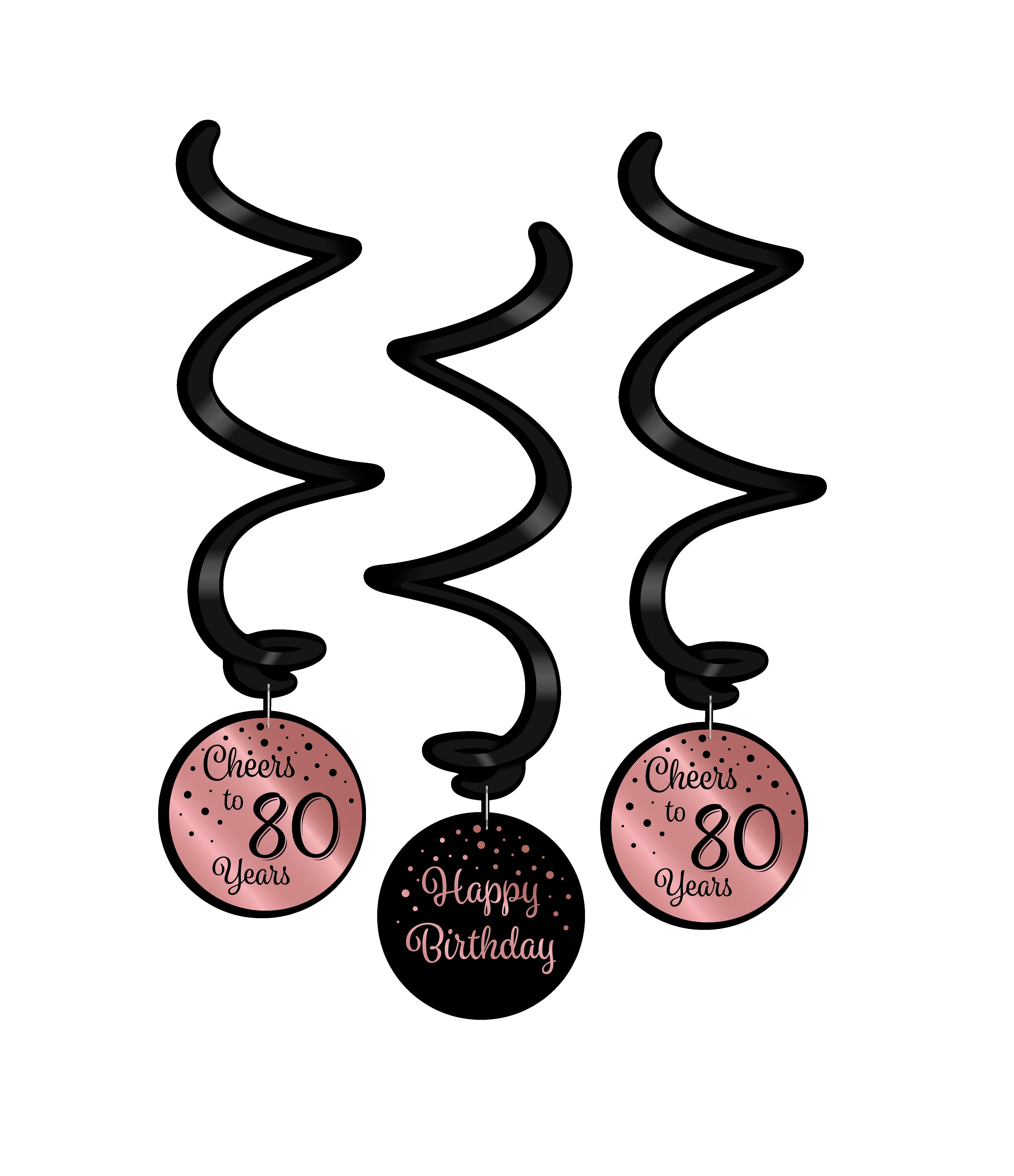 3st Hangdeco Roségoud/Zwart Cheers to 80 Years