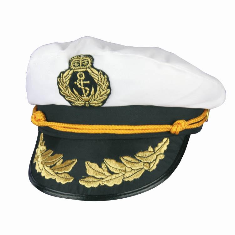 Kapiteinspet Wit/Zwart met Goud