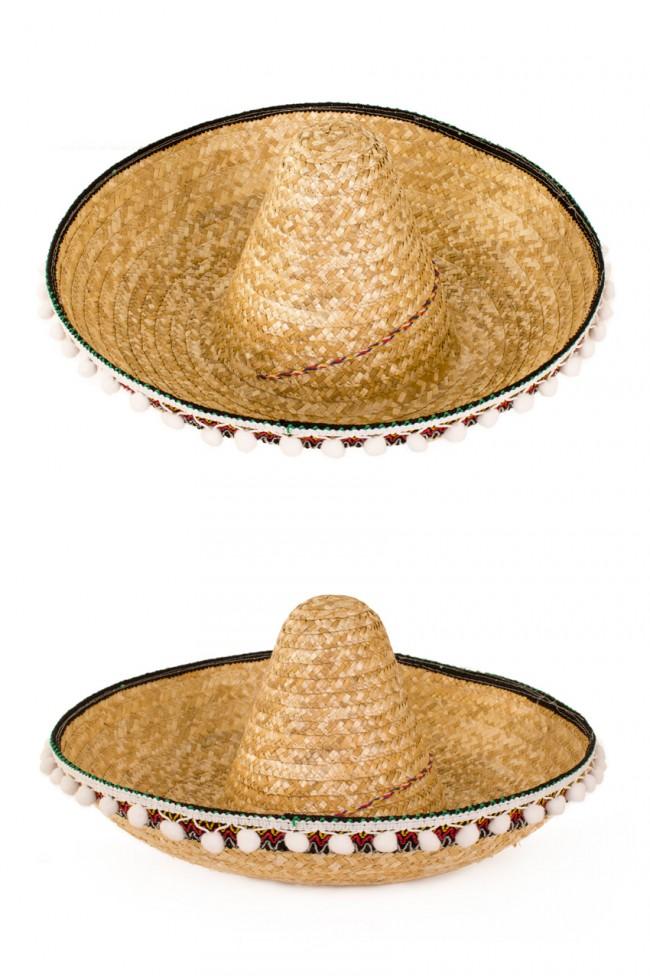 Sombrero Naturel met Balletjes 55cm