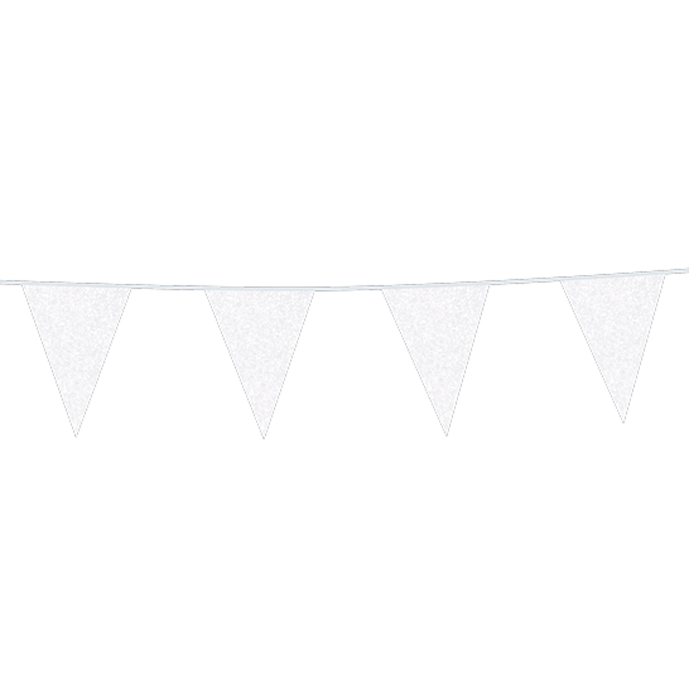 6m Vlaggenlijn Glitter Dubbelzijdig Wit Brandv.