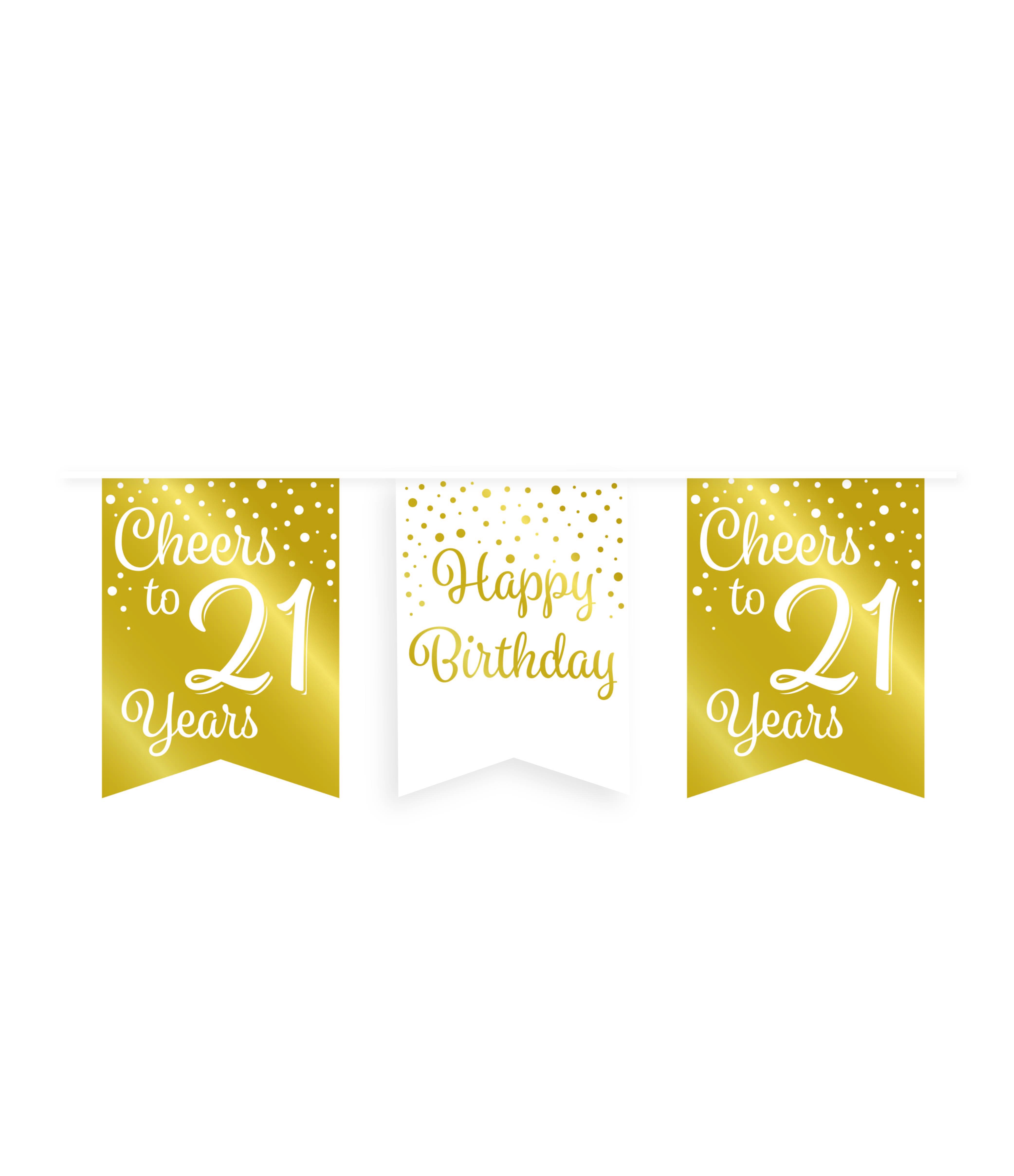 6m Vlaggenlijn Goud/Wit Cheers to 21 Years